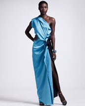 Lanvin Colorblock One-Shoulder Gown