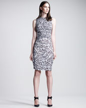 Bottega Veneta Smocked Abstract-Print Dress