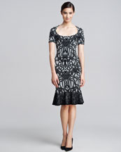Zac Posen Jacquard Fluted Dress