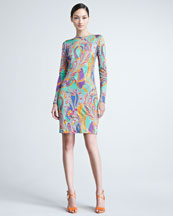 Ralph Lauren Black Label Patty Paisley Long-Sleeve Dress