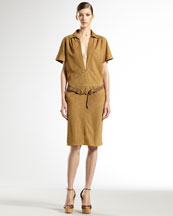 Gucci Leather-Belted Suede Dress