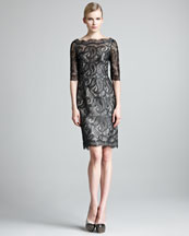 Erdem Lacquered Paisley Lace Dress