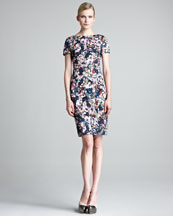Erdem Joyce Short-Sleeve Floral-Print Dress