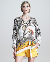 Roberto Cavalli New Longer Mixed-Print Caftan
