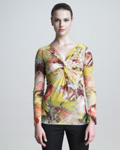 Jean Paul Gaultier Long-Sleeve Knotted Floral-Print Shirt