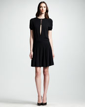 Saint Laurent Flounce-Skirt Keyhole Dress