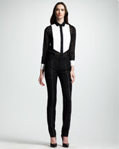 Saint Laurent Studded Gabardine Tuxedo Pants
