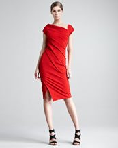 Donna Karan Structured Matte Jersey Cap-Sleeve Dress