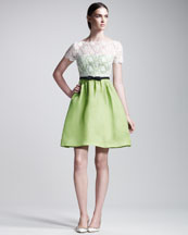 Valentino Lace-Bodice Organza Dress, Green/Ivory