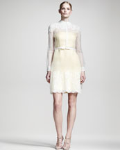 Valentino Lace-Trim Organza Dress
