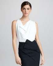 Donna Karan Draped Cowl-Neck Top