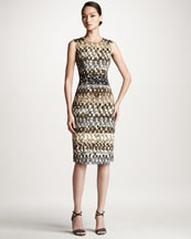 Carolina Herrera Watercolor-Print Sheath Dress
