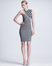 Stella McCartney Contoured Mesh-Inset Gingham Sheath Dress