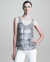 Armani Collezioni Nautical Sequin-Striped Tank