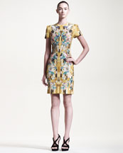 Alexander McQueen Hummingbird-Print Cady Dress