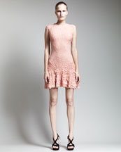Alexander McQueen Pucker-Knit Cap-Sleeve Flounce Dress, Blush