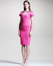 Roland Mouret Myrtha Folded Sheath Dress, Bubblegum