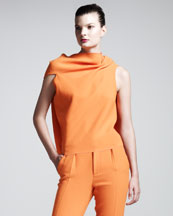 Roland Mouret Eugene Stretch-Cotton Top, Russet Orange