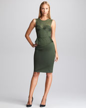 Emilio Pucci Sateen Peplum Dress, Khaki
