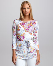 Emilio Pucci Self-Belted Butterfly Tunic