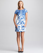 Emilio Pucci Printed Cloque Shift Dress