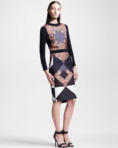 Givenchy Printed Long-Sleeve Combo Dress