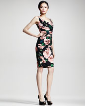 Dolce & Gabbana Rose-Print Ruched Dress