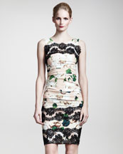 Dolce & Gabbana Lace-Applique Ruched Dress