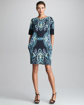 Etro Half-Sleeve Shift Dress, Black