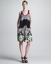 Etro Scoop-Neck A-Line Paisley Dress, Black