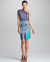 Etro Printed One-Shoulder Dress