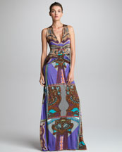 Etro Ruched-Front Printed Maxi Dress