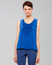 Akris punto Embellished Silk Blouse, Royal