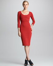 Narciso Rodriguez Bracelet-Sleeve Crepe Jersey Dress, Ruby