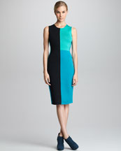 Narciso Rodriguez Colorblock Knit Sheath Dress