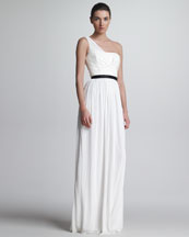 Jason Wu One-Shoulder Jersey & Leather Gown, White