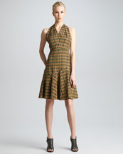 Derek Lam Twist-Back Plaid Dress