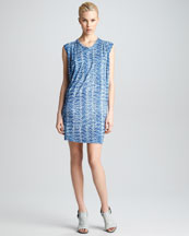 Derek Lam Reptile-Print Draped Dress