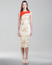 Carolina Herrera Baroque Jacquard Dress