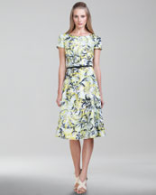 Carolina Herrera Vibrant Baroque-Print Twill Dress, Glacier