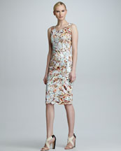 Carolina Herrera Crystal-Print Sleeveless Dress