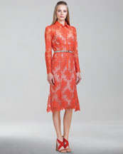 Carolina Herrera Chantilly Lace Shirtdress, Orange