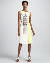 Carolina Herrera Modern Art-Print Faille Dress