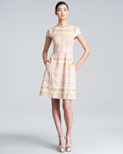 Lela Rose Cap-Sleeve Boucle Dress
