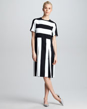 Marc Jacobs Striped Pleated Dress