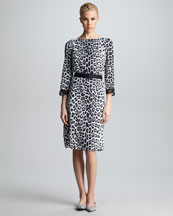 Marc Jacobs Belted Leopard-Print Dress