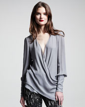 Wes Gordon Georgette Wrap Blouse