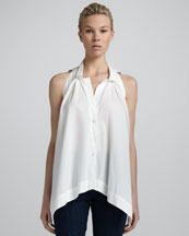 Donna Karan Pleated-Front Sleeveless Top, White