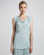 Donna Karan Sleeveless Draped Top, Aquamint
