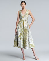 J. Mendel Textured Taffeta Dress, Pearl/Waterlily